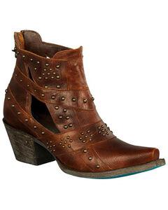 Lane Women's Brown Studs & Straps Fashion Boots - Snip Toe , Brown, hi-res