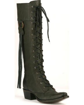 Junk Gypsy by Lane Black Trailblazer Lace-Up Boots - Snip Toe, Black, hi-res