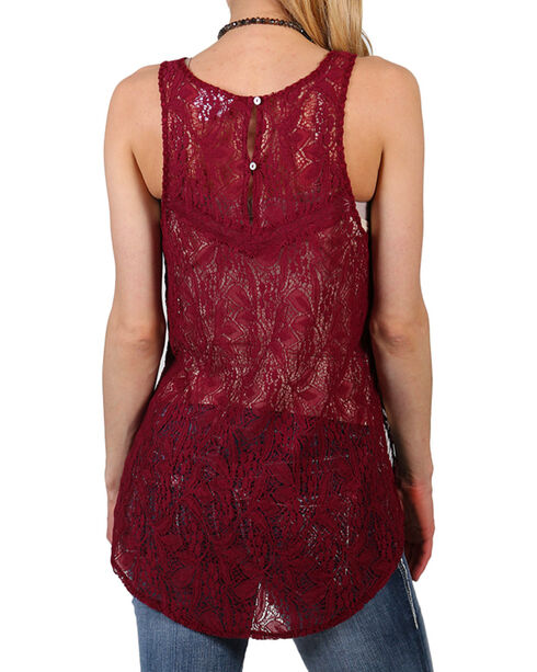Shyanne Women's Sheer Floral Lace Tank, Burgundy, hi-res