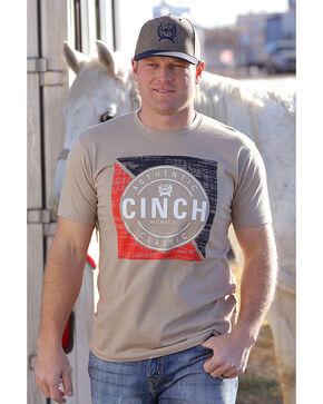 Cinch Men's Beige Heather Basic Short Sleeve Tee , Beige/khaki, hi-res