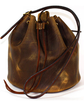SouthLife Supply Women's Aged Bourbon Drawstring Bucket Bag, Brown, hi-res