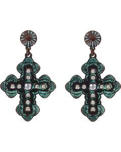 Shyanne Women's Antiqued Western Cross Earrings , Turquoise, hi-res