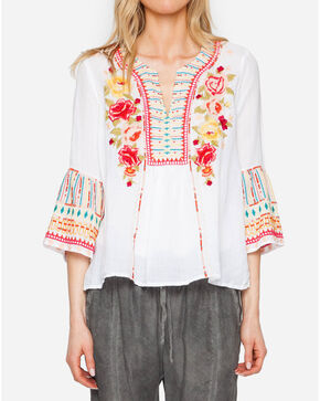 Johnny Was Women's Tilly Flare Sleeve Boho Blouse, White, hi-res
