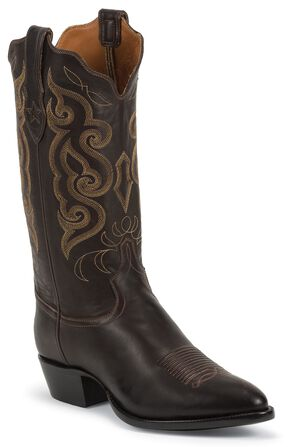 Tony Lama Signature Series Rista Calf Cowboy Boots - Medium Toe, Chocolate, hi-res