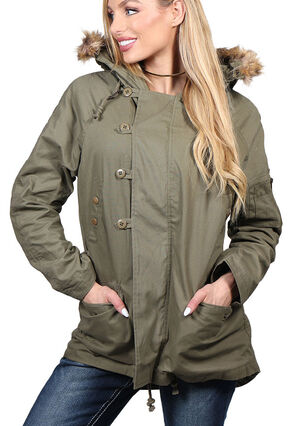 Shyanne Women's Anorak Hooded Jacket, Olive, hi-res