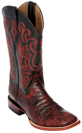 Ferrini Men's Black Cherry Caiman Belly Print Western Boots - Square Toe , Black Cherry, hi-res
