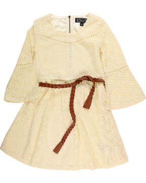 Shyanne Girls' Belted Ivory Lace Dress, Ivory, hi-res