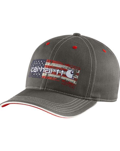 Carhartt Men's Charcoal Grey Distressed Flag Graphic Cap, Charcoal Grey, hi-res