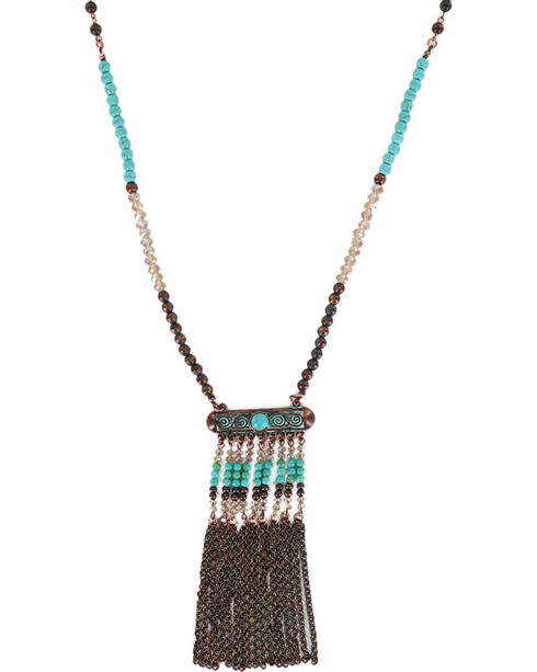Shyanne Women's Multi Beaded Necklace, Turquoise, hi-res