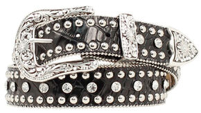Nocona Rhinestone Studded Croc Print Leather Belt, Black, hi-res