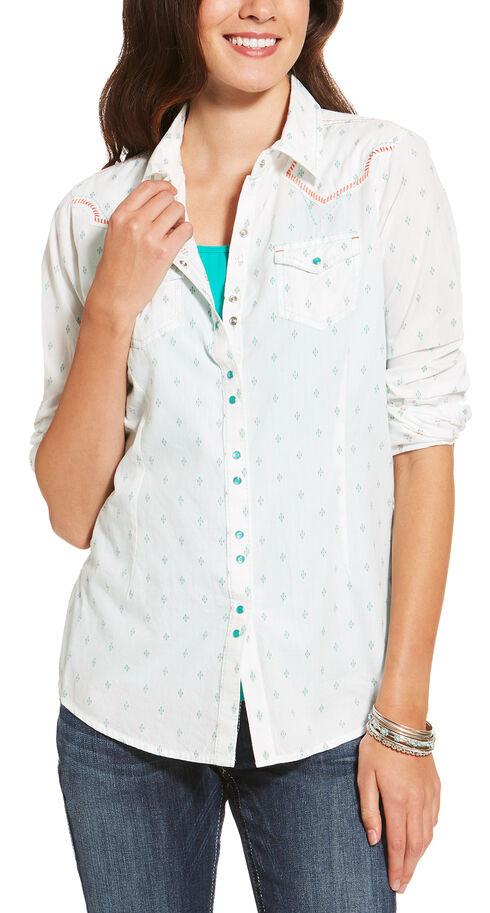 Ariat Women's White Grand Snap Shirt , White, hi-res