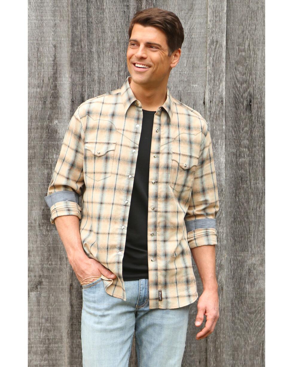 Wrangler Retro Men's Khaki/Blue Plaid Premium Long Sleeve Snap Shirt, Beige/khaki, hi-res