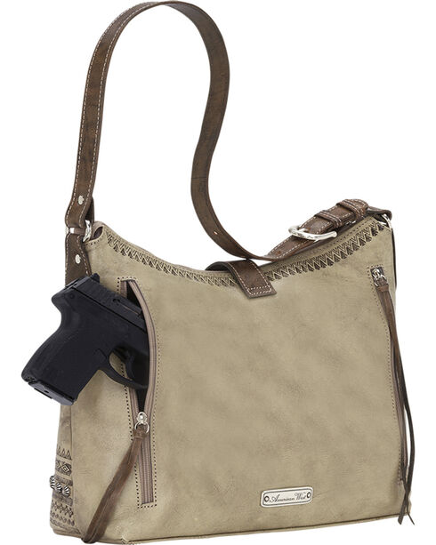 American West Women's Trading Post Large Zip Top Shoulder Bag, Sand, hi-res
