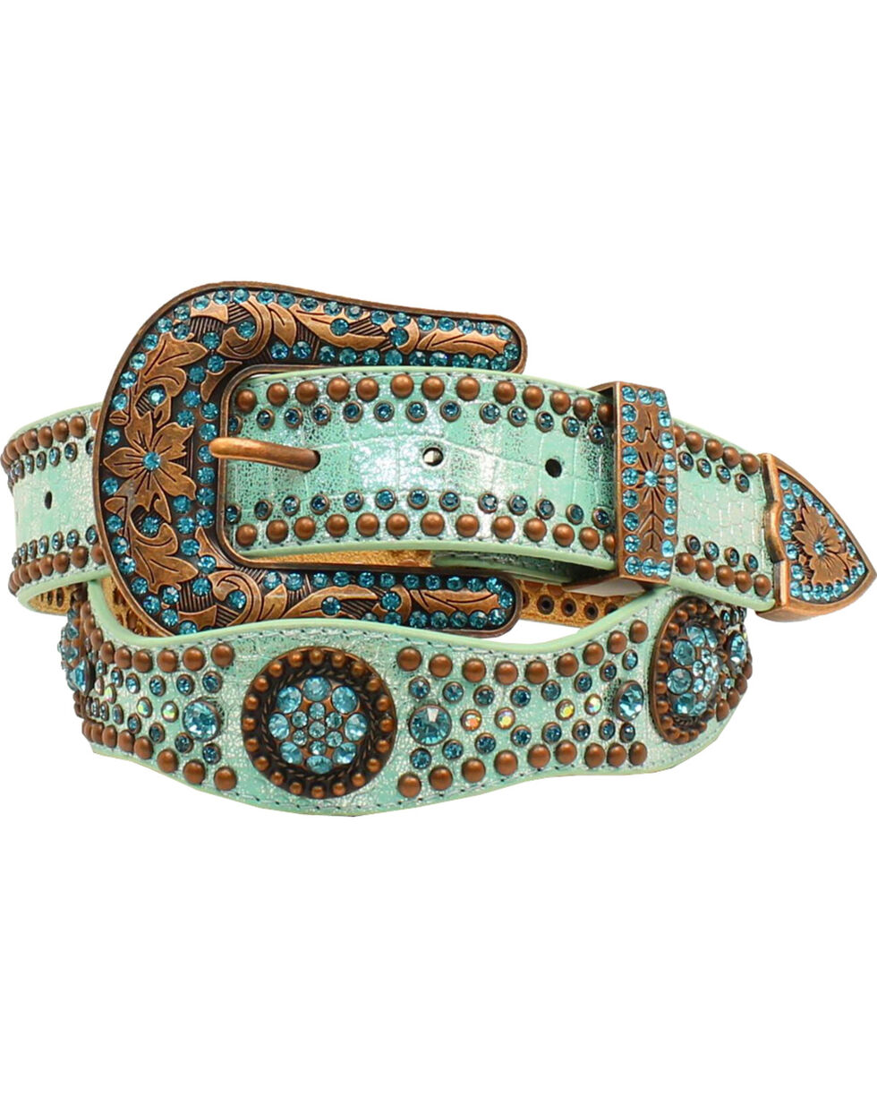Nocona Women's Scallop Round Concho Studded Belt, Light Blue, hi-res