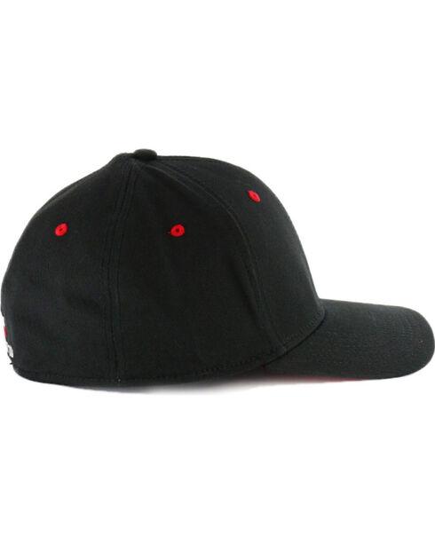 Justin Men's Embroidered Flex Ball Cap , Black, hi-res