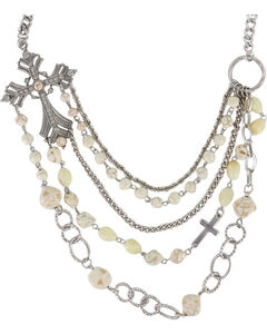 Shyanne Women's Layered Cross Necklace, Silver, hi-res