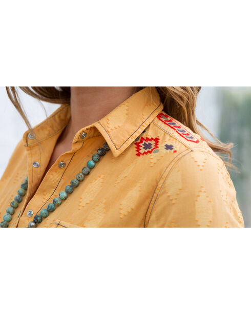 Ryan Michael Women's Tucson Clipped Shirt , Yellow, hi-res