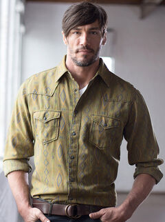 Ryan Michael Men's Olive Mesa Jacquard Shirt , , hi-res