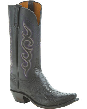 Lucchese Women's Yvette Ostrich Leg Western Boots - Snip Toe, Black, hi-res