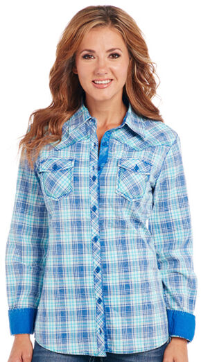 Cowgirl Up Blue Plaid Long Sleeve Shirt, Blue, hi-res