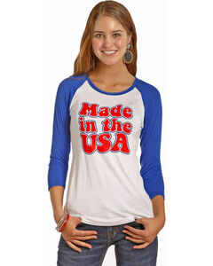 Rock & Roll Cowgirl Women's Blue Made In The USA Baseball Tee , Red/white/blue, hi-res