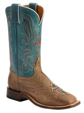 Tony Lama San Saba Vintage Turquoise Cross Applique Cowgirl Boots - Square Toe, Teal, hi-res