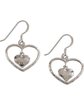 Silver Legends Women's Double Heart Diamond Cut Dangle Earrings , Silver, hi-res