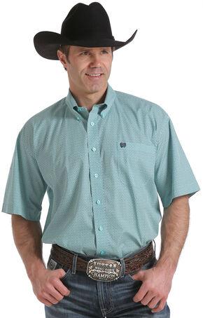 Cinch Men's Light Blue One Pocket Geo Print Short Sleeve Shirt , Light Blue, hi-res