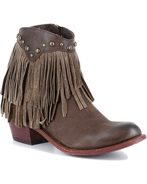 Shyanne Women's Oleo Fringe Trimmed Booties - Round Toe, Brown, hi-res