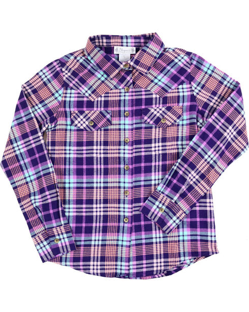 Shyanne Girls' Plaid Button Down Flannel, Magenta, hi-res