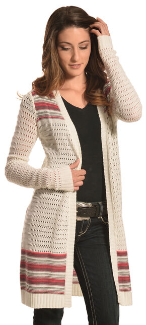 Derek Heart Women's Cream and Coral Duster Cardigan , Cream, hi-res