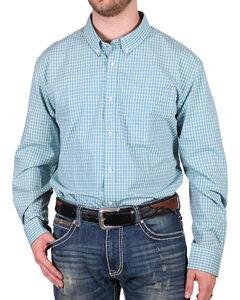 Cody James Men's Nokota Plaid Check Long Sleeve Shirt, Turquoise, hi-res