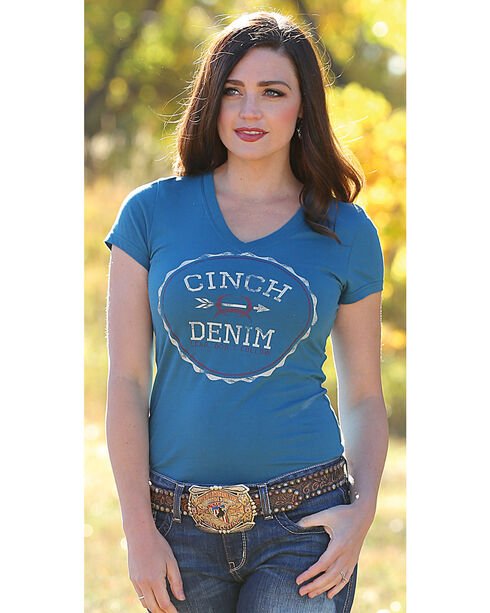 Cinch Women's Teal Cotton Jersey Tee , Teal, hi-res