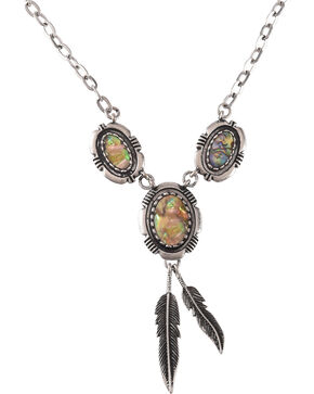 Shyanne Women's Mother of Pearl Feather Necklace, Silver, hi-res