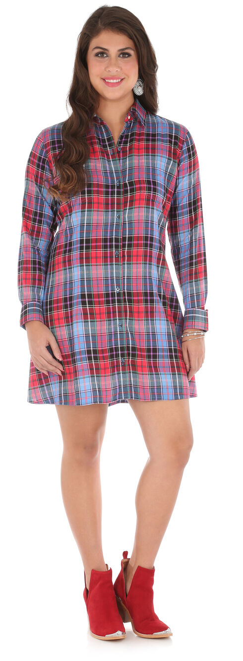 Wrangler Women's Blue Patch Pocket Long Sleeve Plaid Tunic , Blue, hi-res