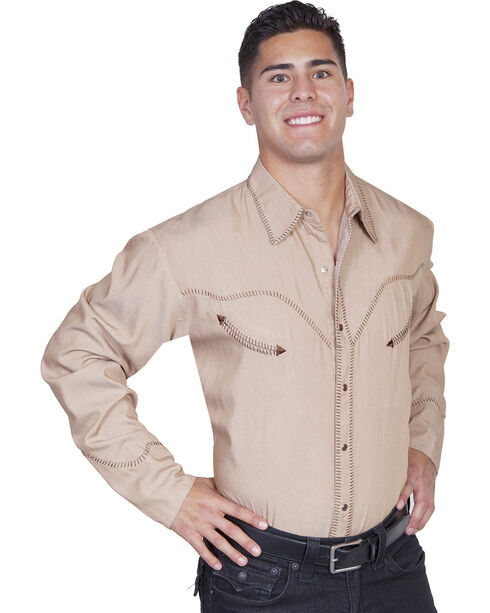 Scully Whip Stitched Denim Retro Western Shirt, Tan, hi-res