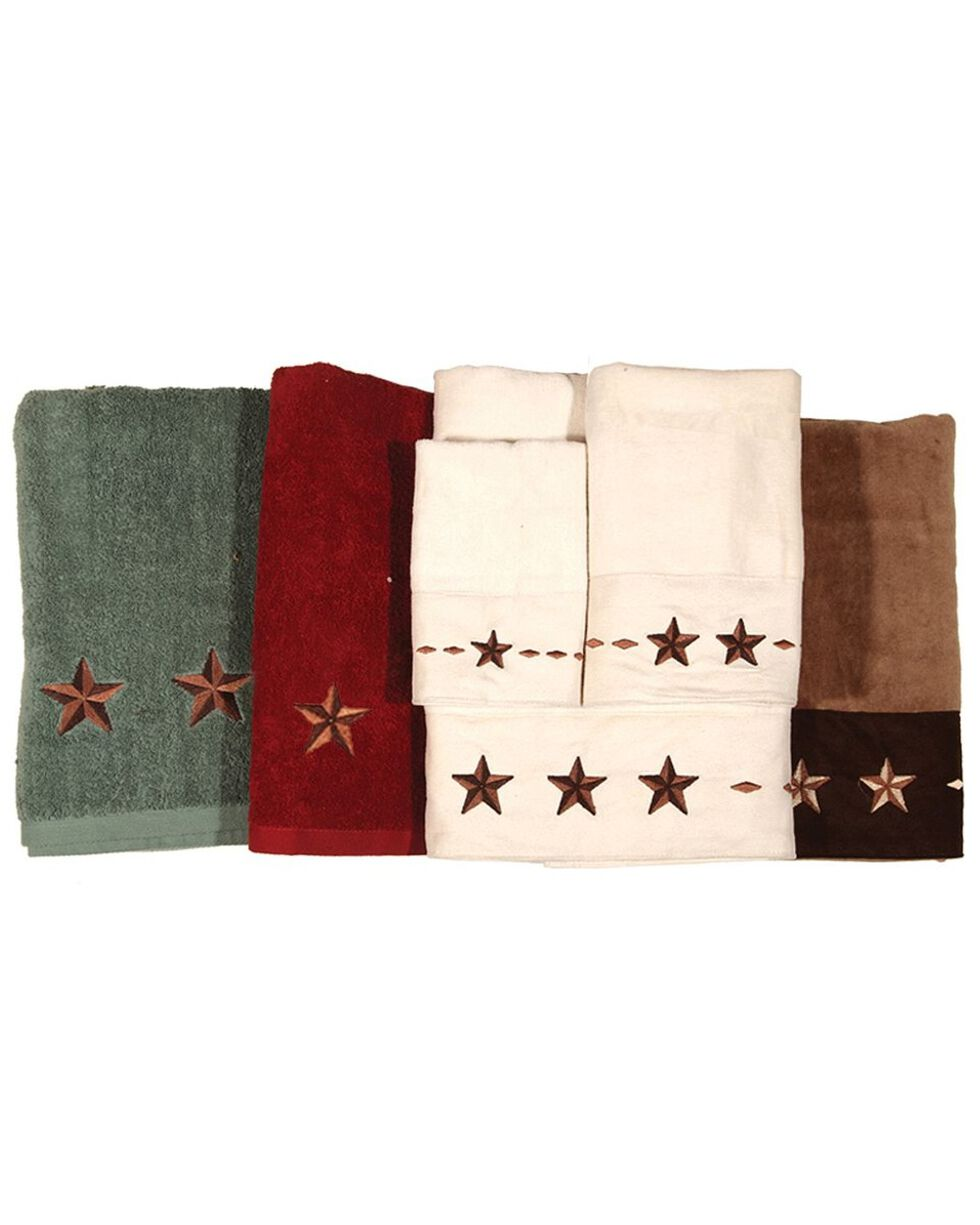 HiEnd Accents Three-Piece Embroidered Star Bath Towel Set - Red, Red, hi-res