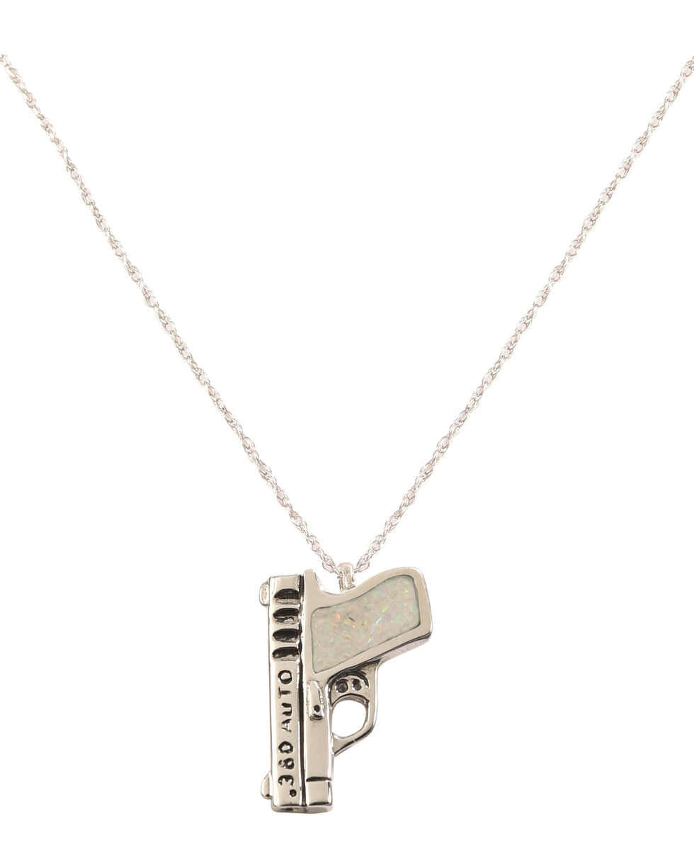 Silver Legends Women's White Opal 380 Auto Pistol Necklace , White, hi-res