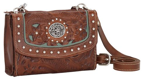 American West Lady Lace Crossbody Bag, Brown, hi-res