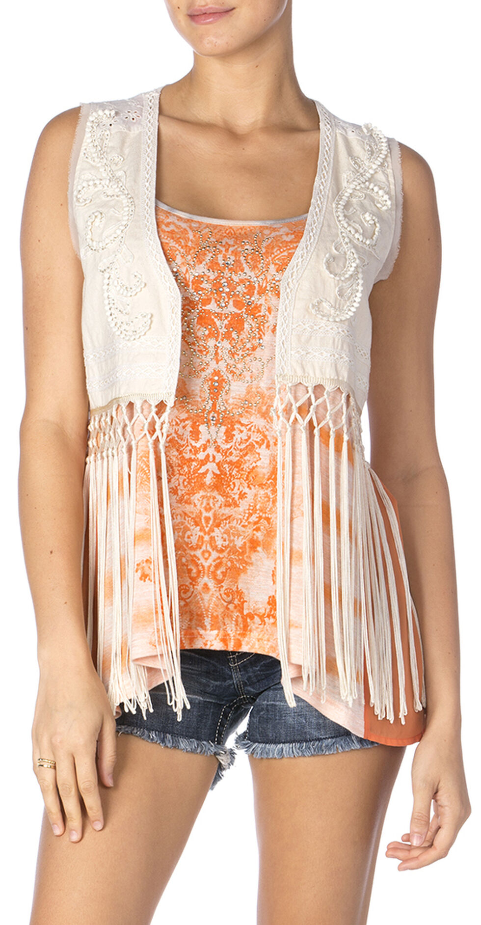 Miss Me Eyelet Lace & Fringe Vest, Cream, hi-res