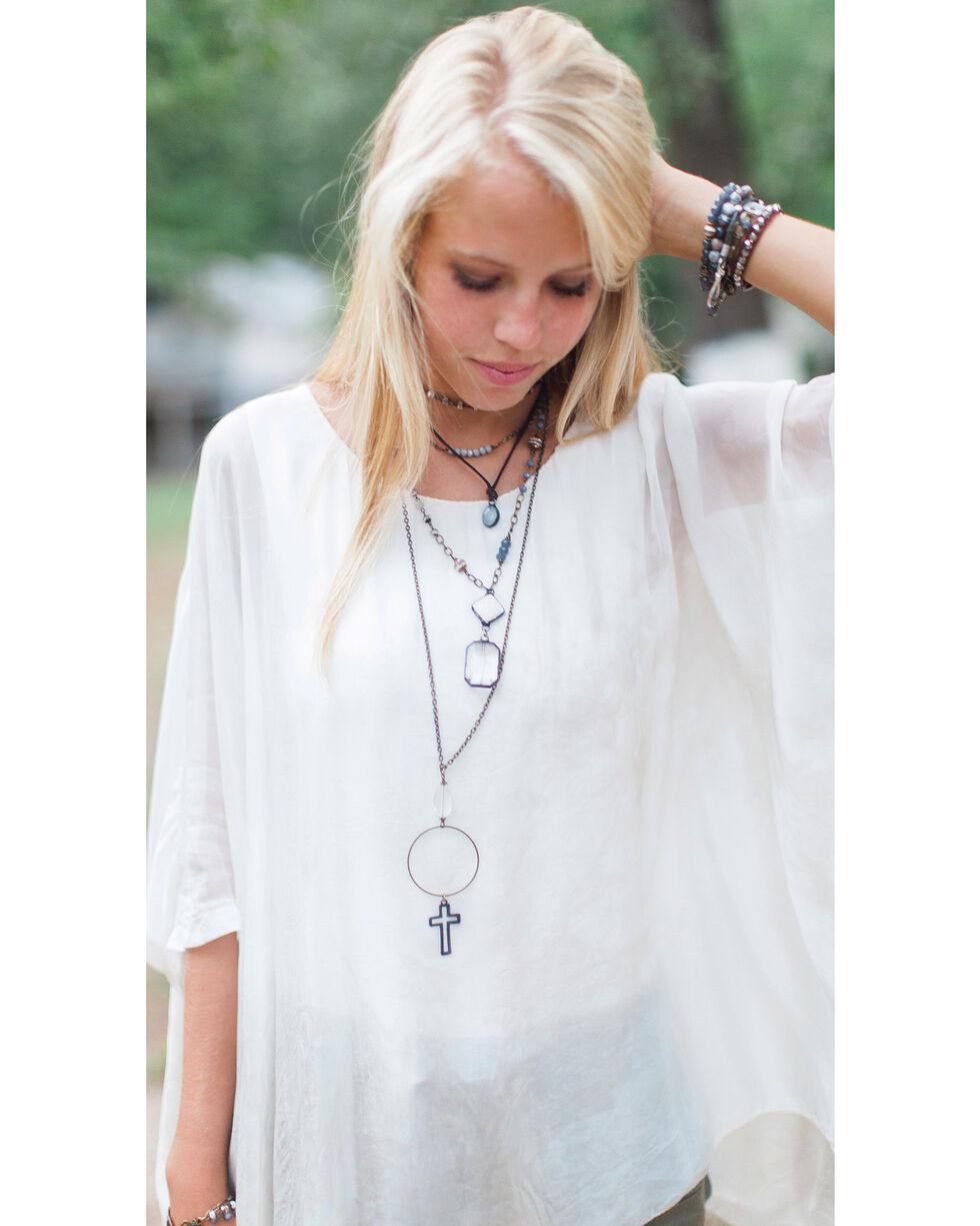 InspireDesigns Women's Steel Healing Stone Charm Necklace , Steel, hi-res