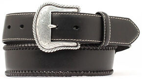 Nocona Top Hand Lace Edge Concho Western Belt - Large, Black, hi-res