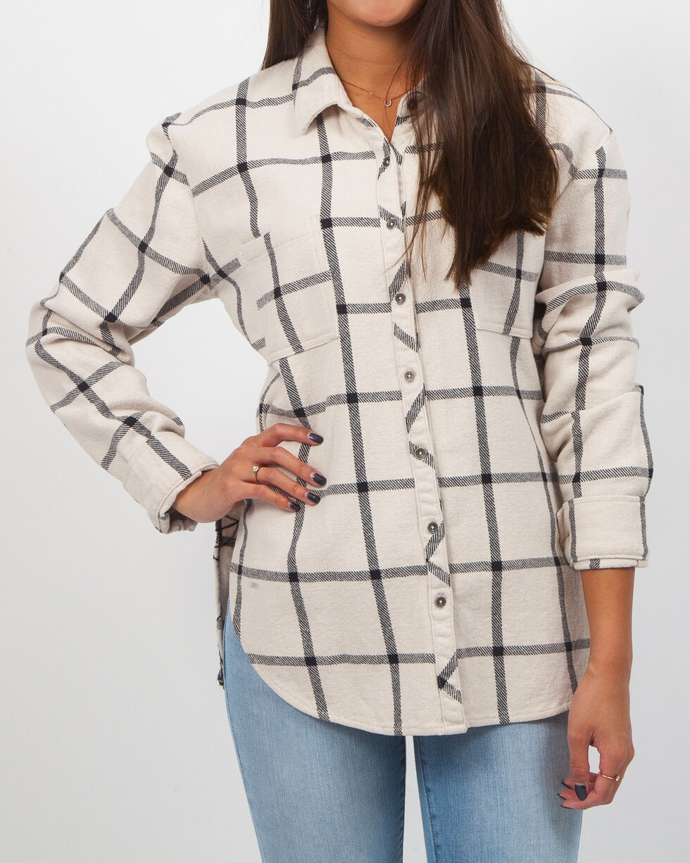 White Crow Women's Floral Embroidered Flannel Top, Ivory, hi-res