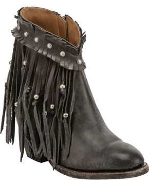 Lucchese Women's Farrah Beaded Fringe Booties - Round Toe, Black, hi-res
