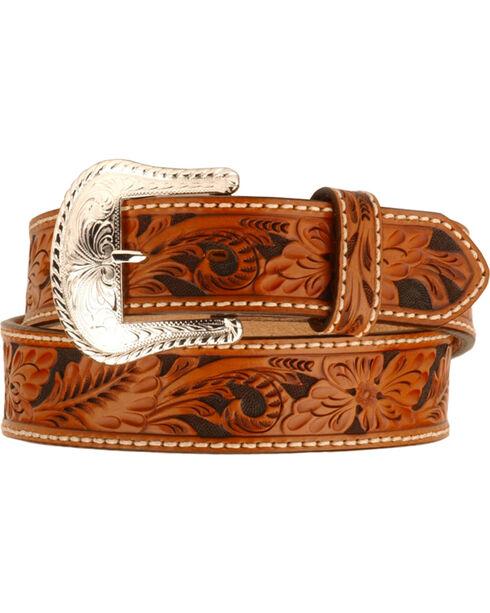Tony Lama Floral Tooled Leather Belt - Reg & Big, Tan, hi-res