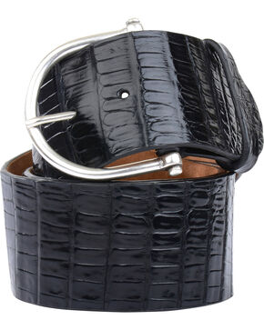 Lucchese Women's Black Ultra Belly Caiman Belt , Black, hi-res