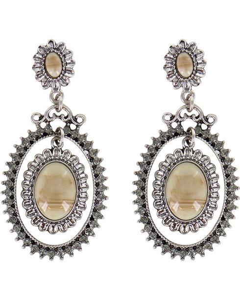Shyanne Women's Floral Concho Earrings, Silver, hi-res