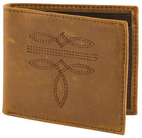 Cody James Men's Western Stitched Wallet, Brown, hi-res