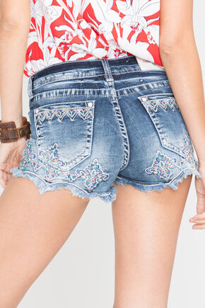 Grace in LA Women's Fiona Scallop Trim Denim Shorts, Blue, hi-res