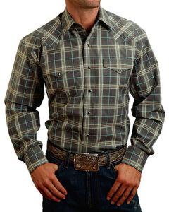 Stetson Men's Grey Plaid Long Sleeve Snap Shirt, Grey, hi-res